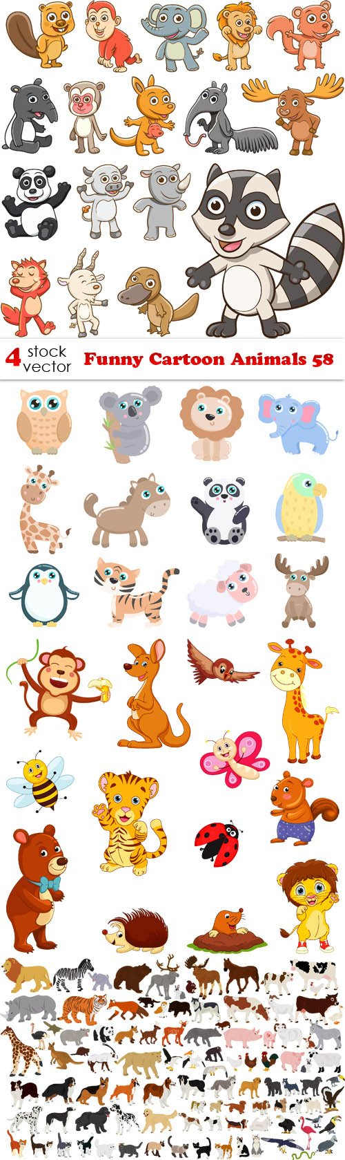 Vectors - Funny Cartoon Animals 58