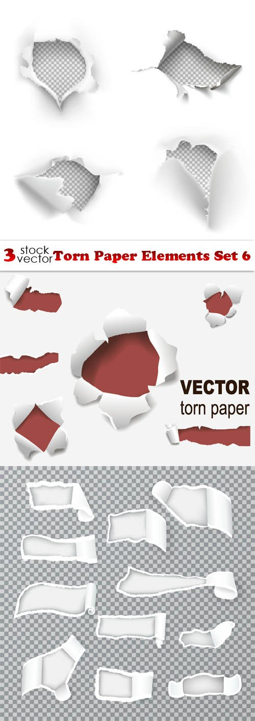 Vectors - Torn Paper Elements Set 6