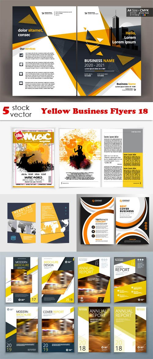 Vectors - Yellow Business Flyers 18