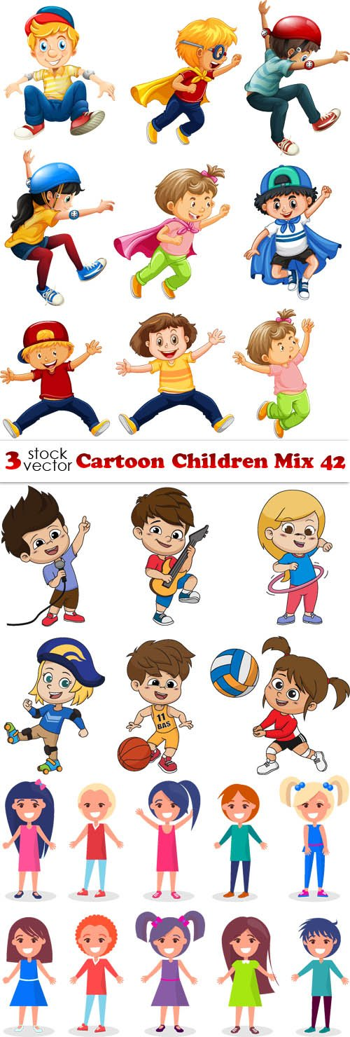 Vectors - Cartoon Children Mix 42