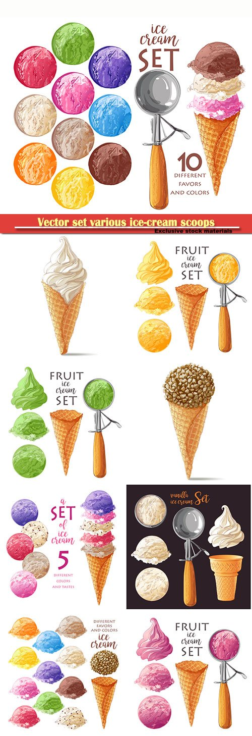 Vector set various ice-cream scoops in waffle cones with assorted balls of vanilla, citrus, strawberry, mint, chocolate