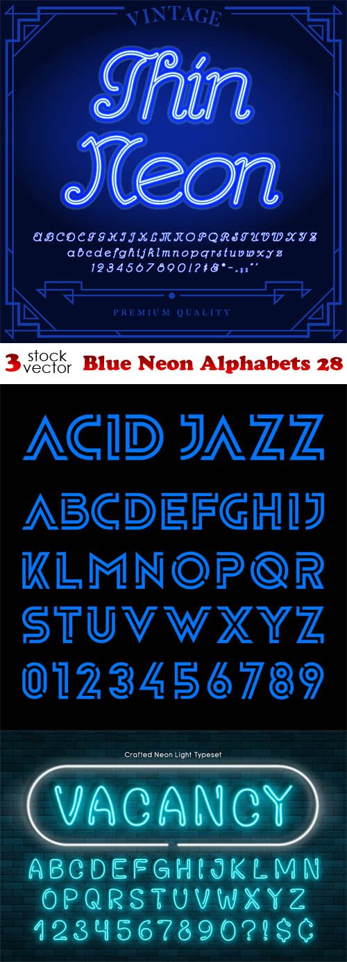 Vectors - Blue Neon Alphabets 28