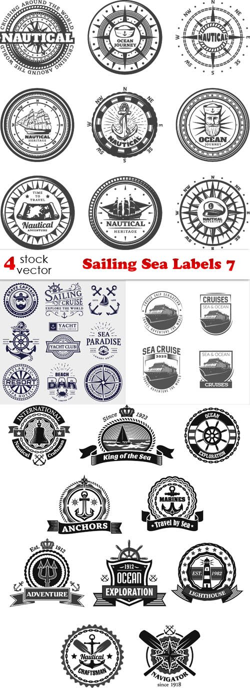 Vectors - Sailing Sea Labels 7