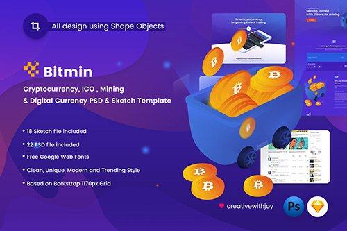 BITMIN - ICO, Mining PSD & Sketch Template