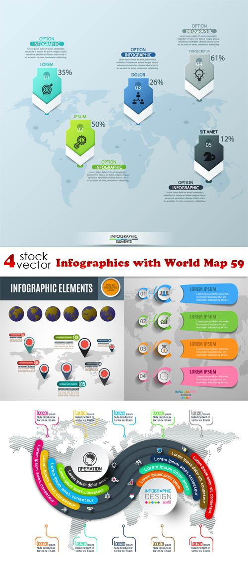 Vectors - Infographics with World Map 59