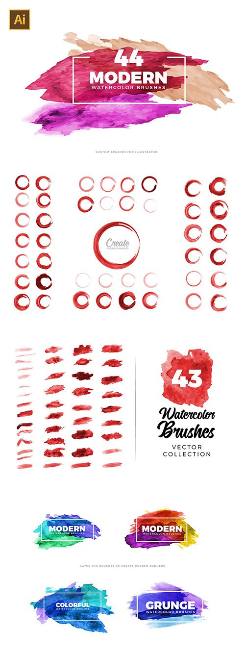 Vector Watercolor Brushes for Illustrator