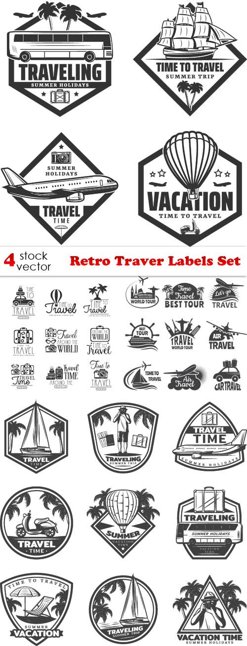 Vectors - Retro Traver Labels Set