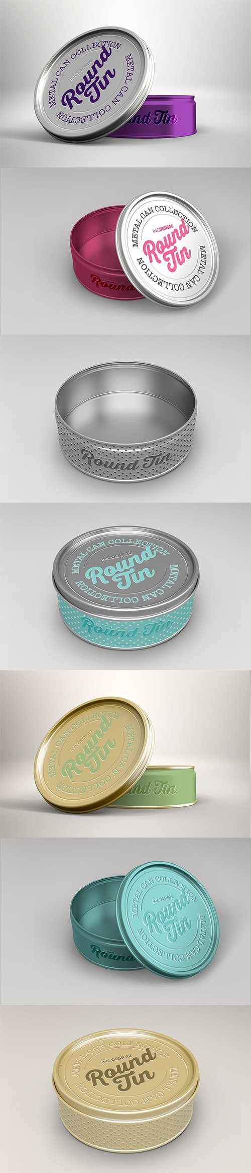 PSD Round Tin Can Packaging Mockups Vol.3