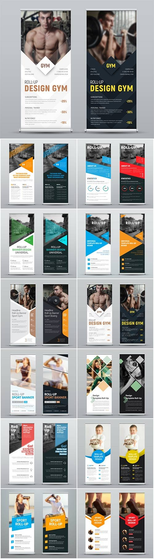 Roll up banners for web and advertisement print out, vector flyer handout design
