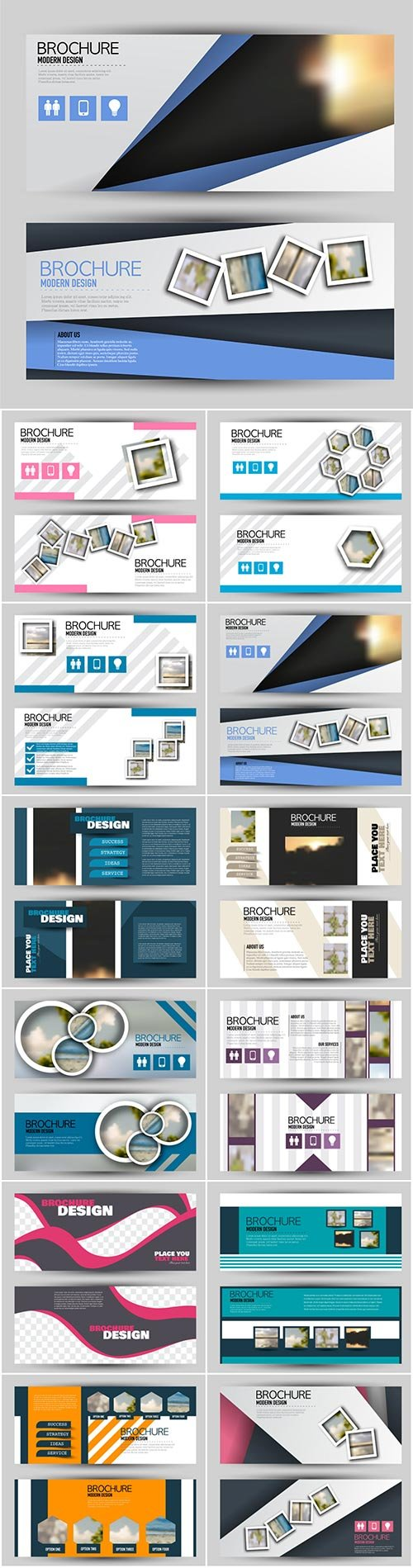 Set of banners for web and advertisement print out, vector horizontal flyer handout design