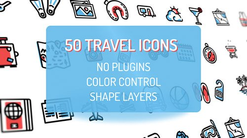 Travel Holiday Flat Icons - Project for After Effects (Videohive)