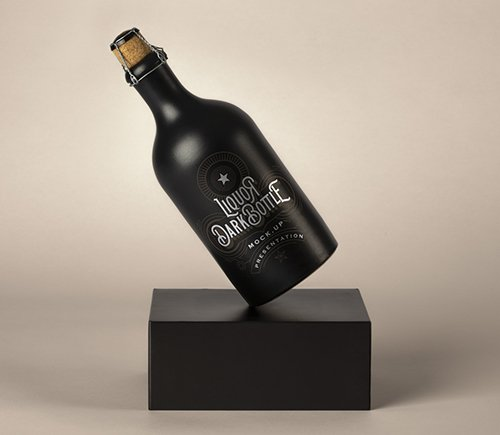 Dark Liquor Bottle Mockup