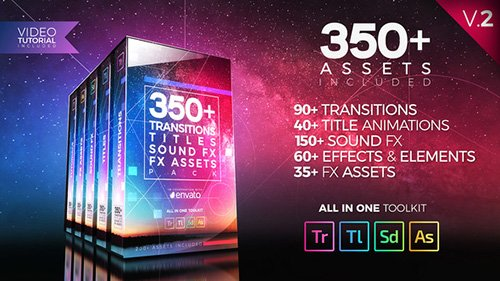 350+ Pack: Transitions, Titles, Sound FX - Premiere Pro Templates (Videohive)