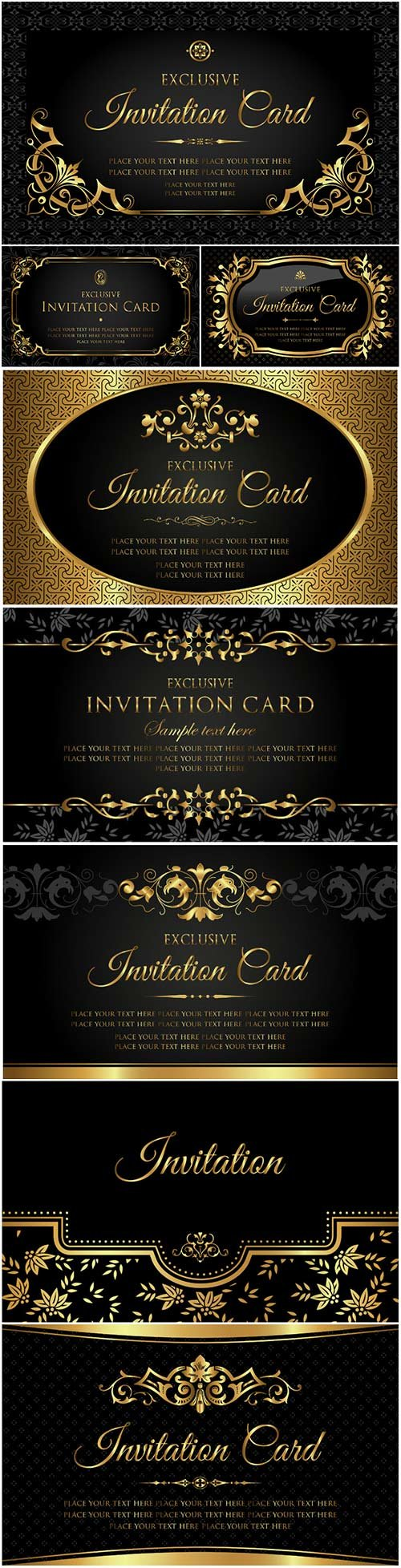 Invitation Luxury Vector Card Black And Gold Vintage Style