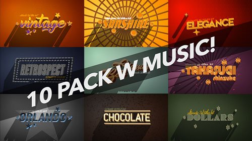 4K Vintage Retro 10 Logo Text Intro Pack - Project for After Effects (Videohive)