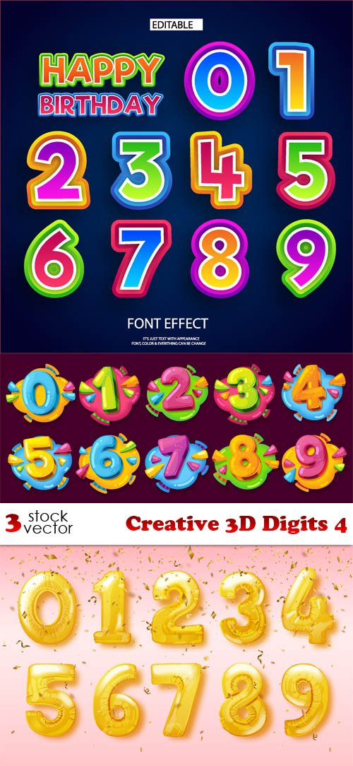 Vectors - Creative 3D Digits 4