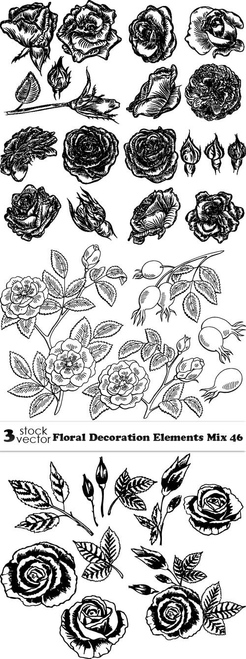 Vectors - Floral Decoration Elements Mix 46
