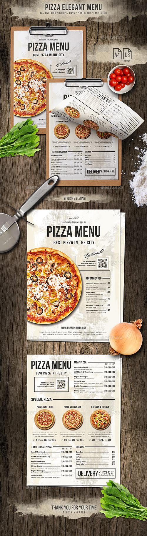 GR - Pizza Elegant Menu - A4 and US Letter 20030786