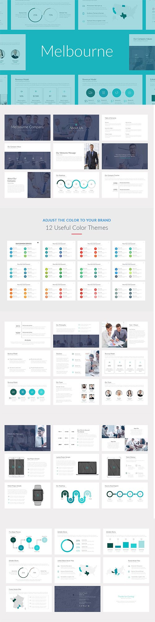 Melbourne Professional PowerPoint, Keynote and Google Sliders Template