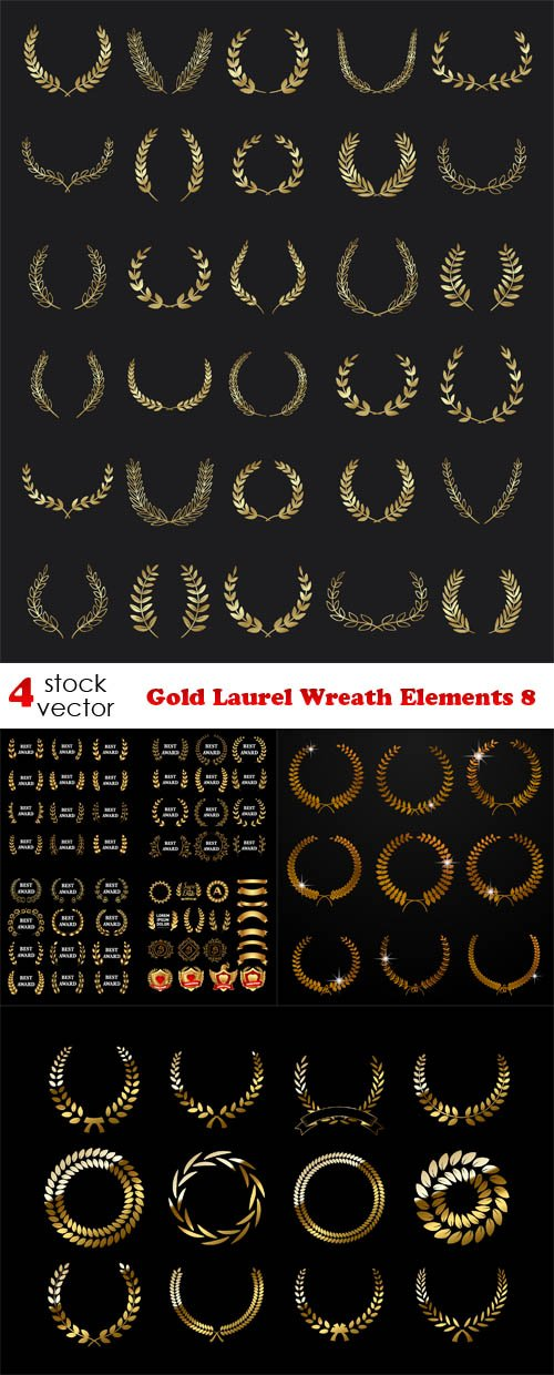 Vectors - Gold Laurel Wreath Elements 8
