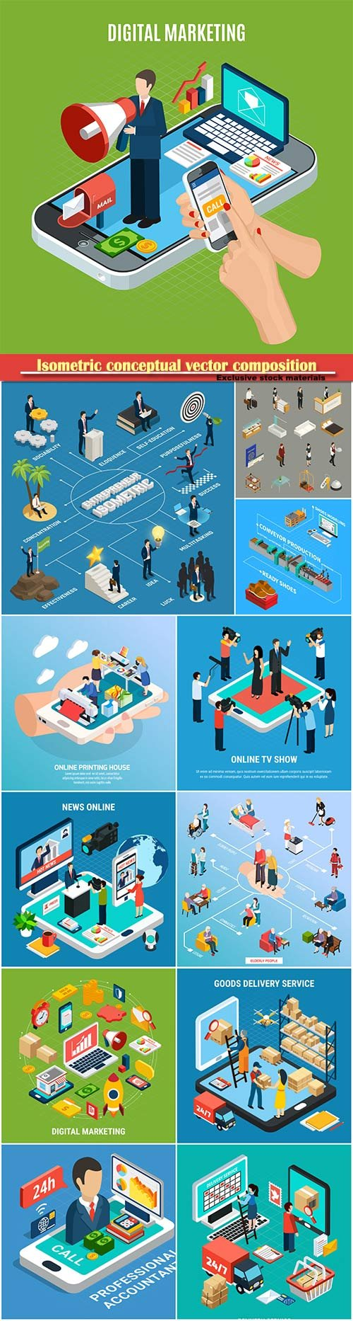 Isometric conceptual vector composition, infographics template # 21