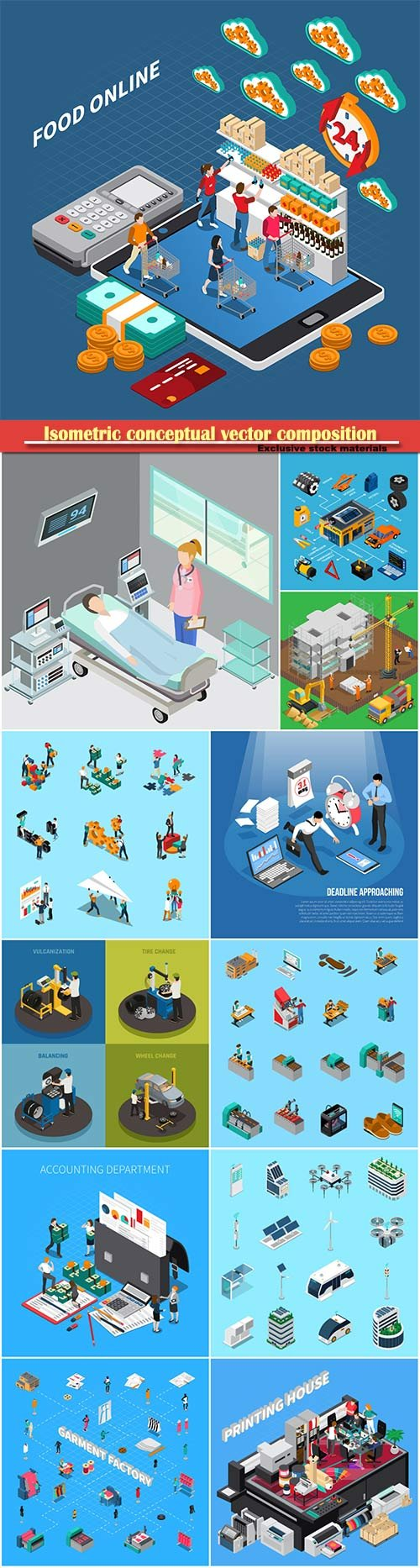 Isometric conceptual vector composition, infographics template # 24