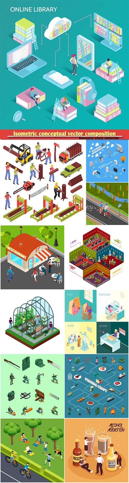 Isometric conceptual vector composition, infographics template # 23