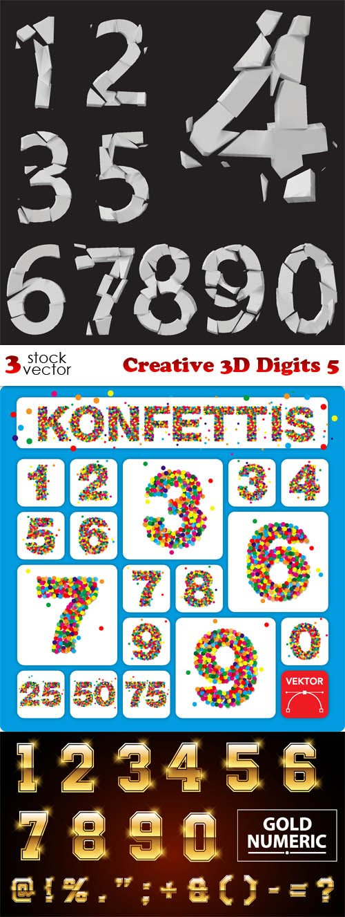 Vectors - Creative 3D Digits 5