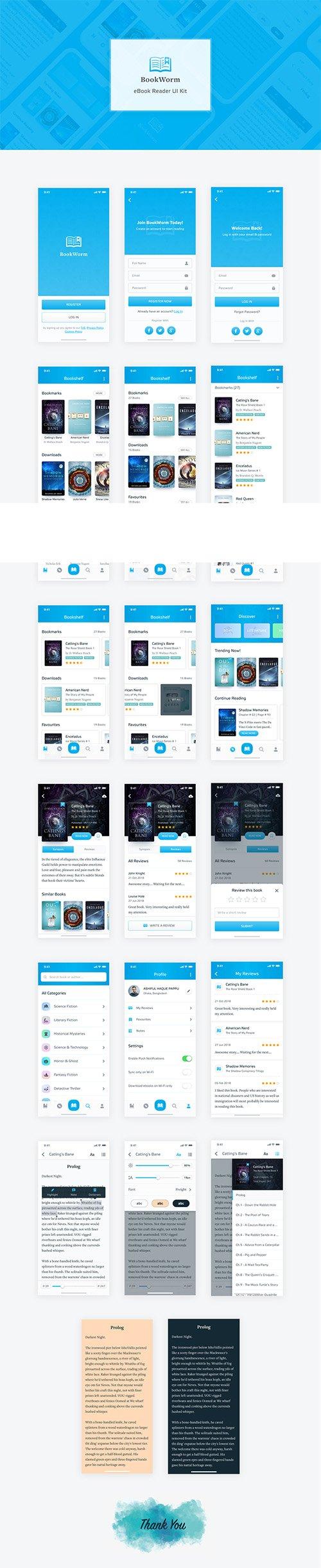 BookWorm eBook Reader UI Kit » NitroGFX - Download Unique Graphics