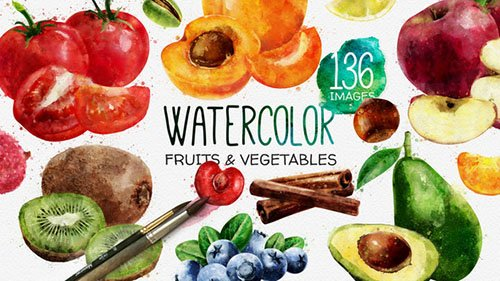 Watercolor Fruits And Vegetables - Project for After Effects (Videohive)