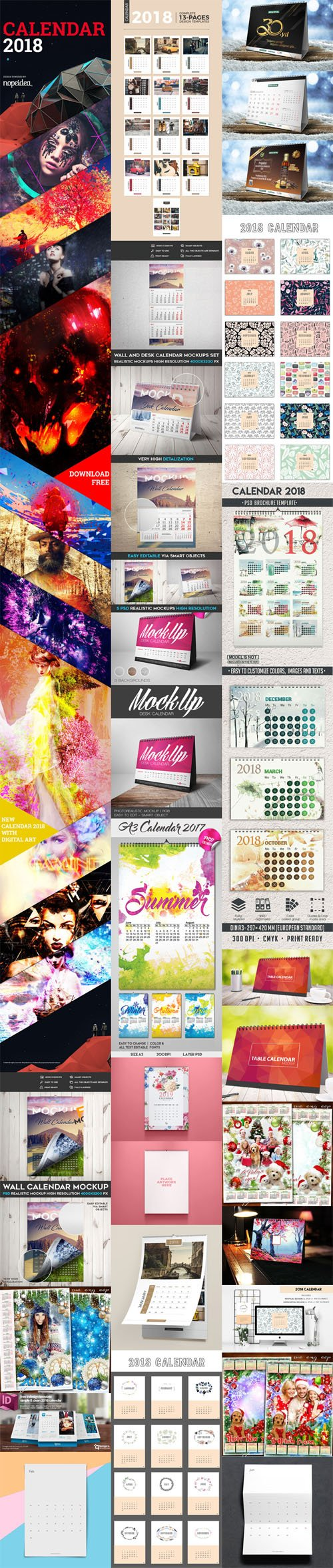 Calendar Templates & Mockups Collection [PSD/Ai/Indd/PDF]