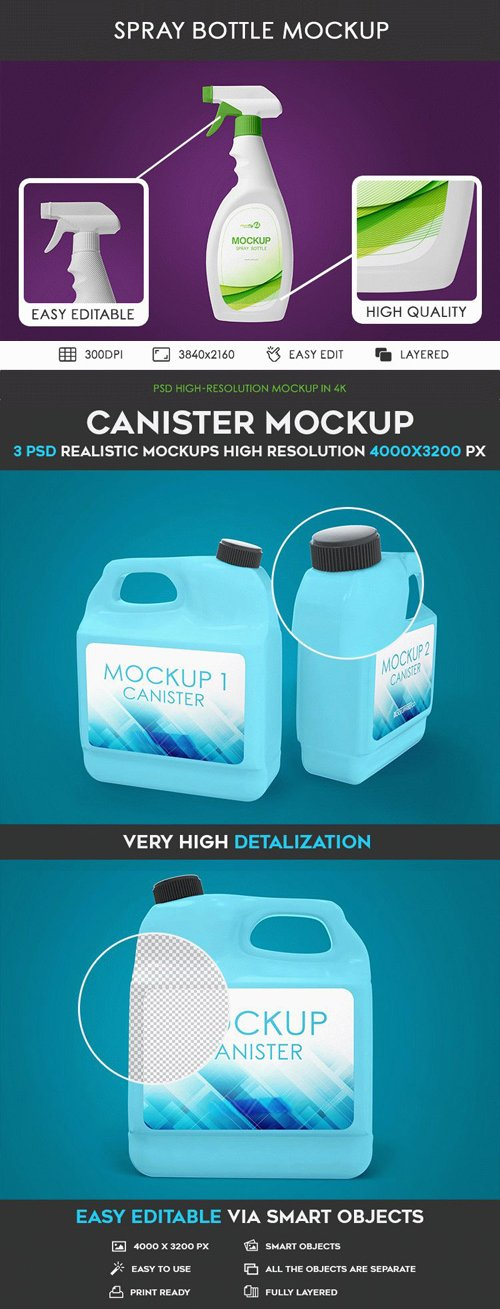 Spray Bottle & Canister PSD Mockups in 4k