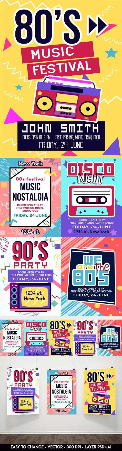80-90s Flyer Templates Bundle [PSD/Ai]