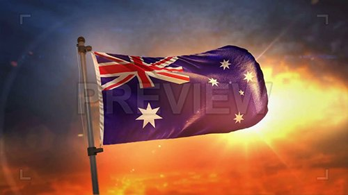 MA - Australia Flag At Sunrise Loop 108611