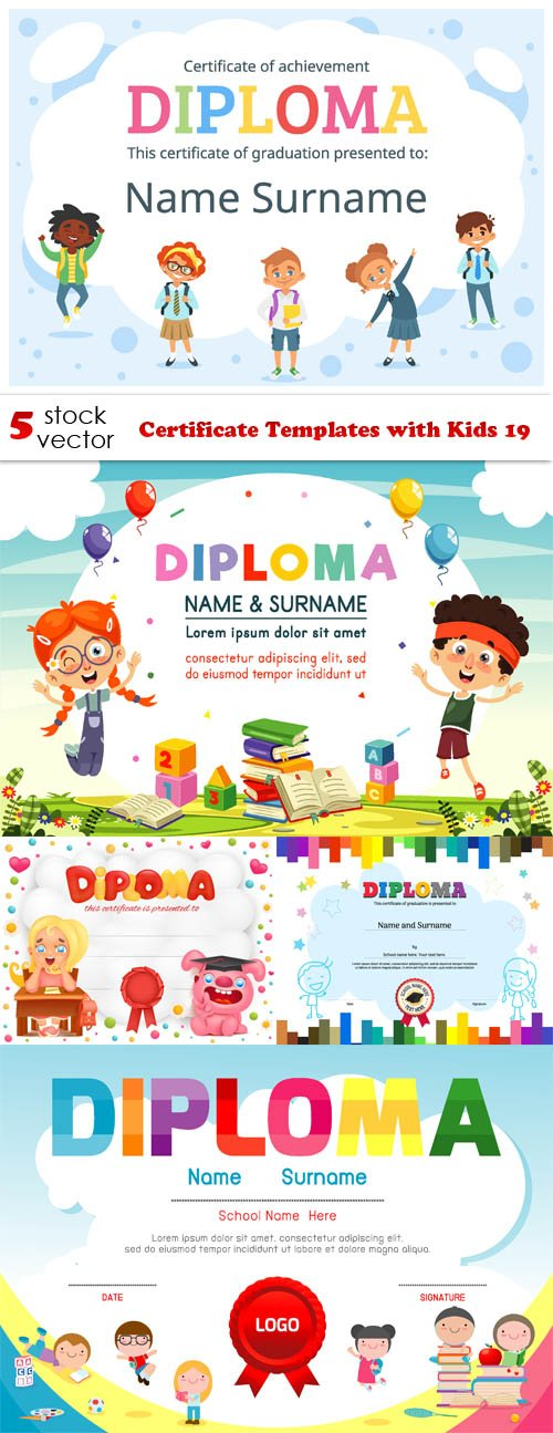 Vectors - Certificate Templates with Kids 19