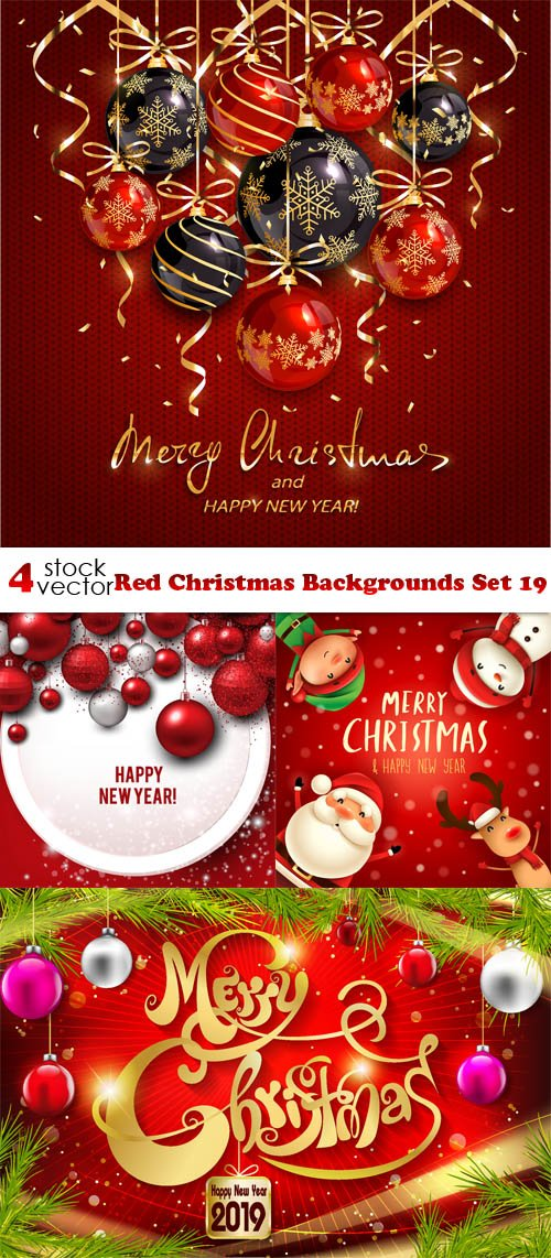 Vectors - Red Christmas Backgrounds Set 19