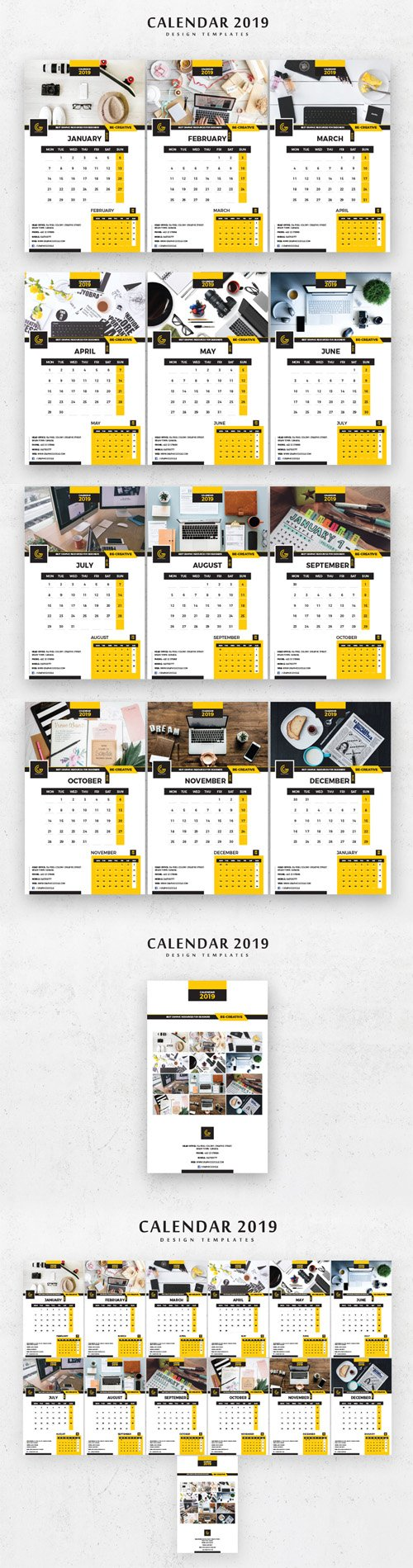 2019 Calendar Design Templates in Vector - 13 Pages