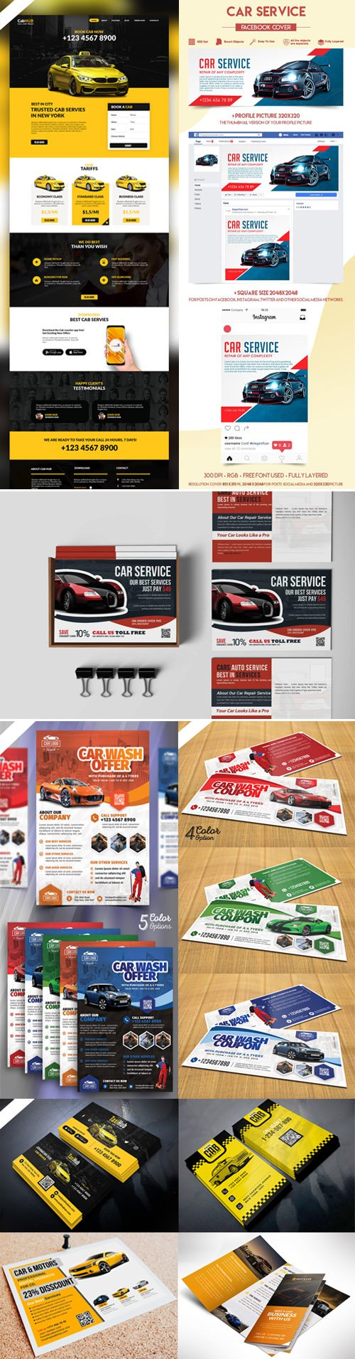 Collection of Cars Services PSD Templates