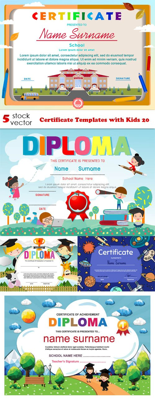 Vectors - Certificate Templates with Kids 20