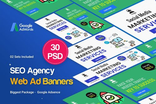 SEO, Marketing Agency Banners Ad - 02 Sets