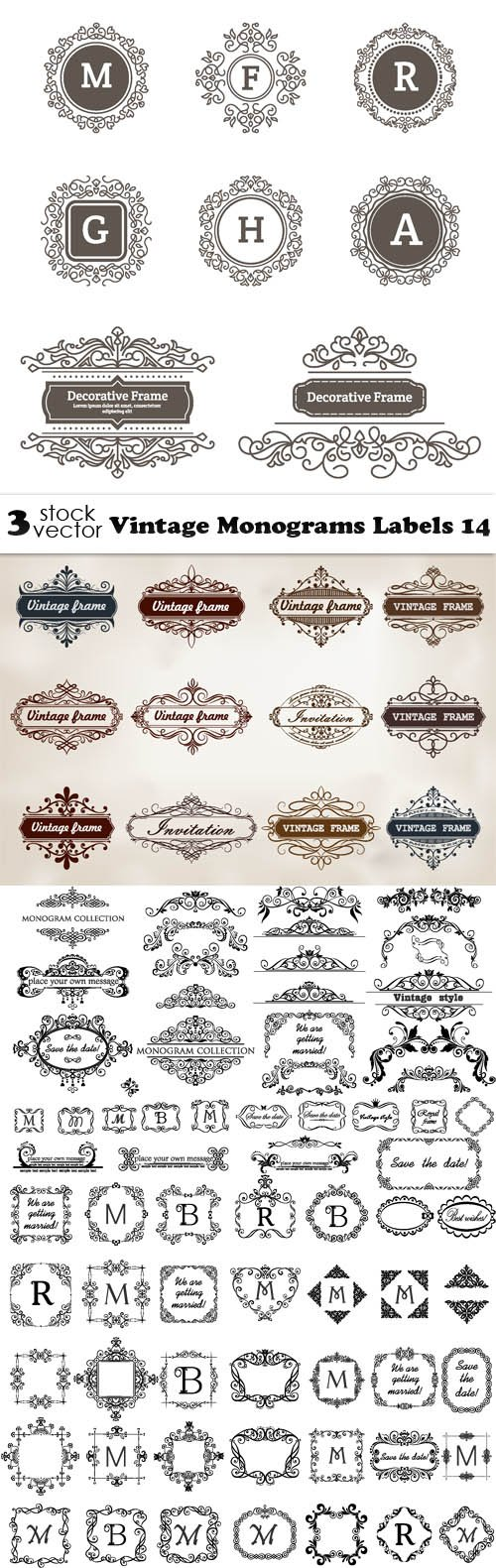Vectors - Vintage Monograms Labels 14