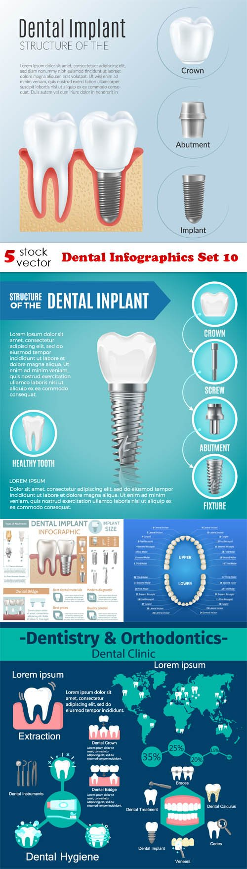 Vectors - Dental Infographics Set 10