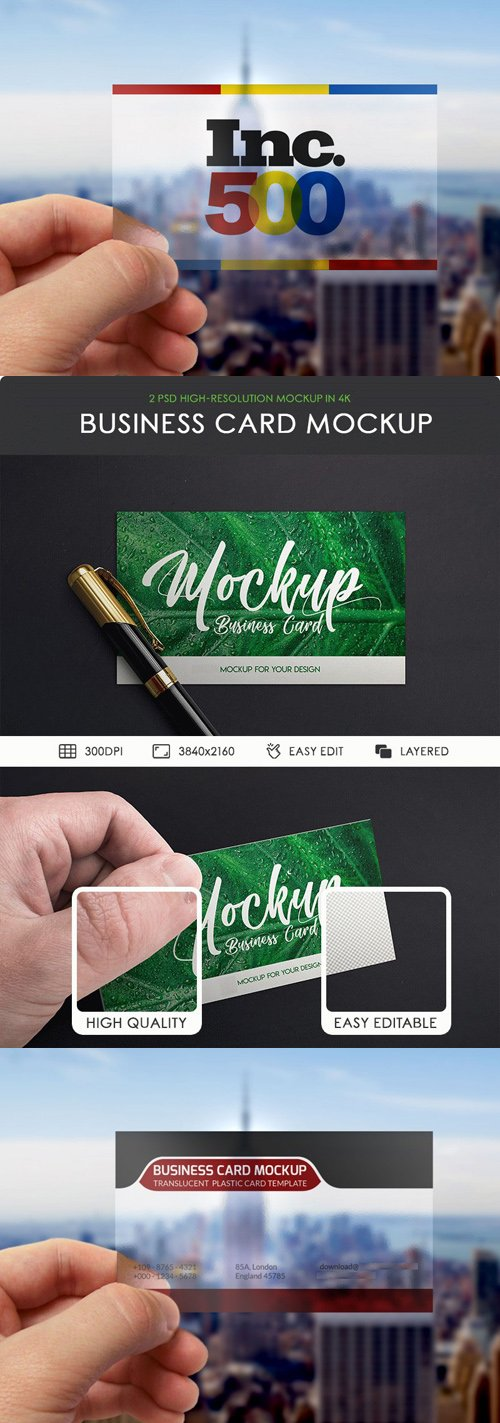 2 Plastic Business Cards in Hand PSD MockUps