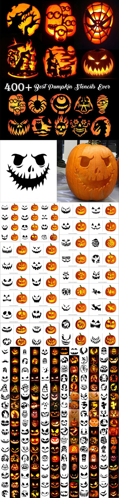 400+ Scary Halloween Pumpkin Carving Patterns in Vector [Ai/EPS/PDF]
