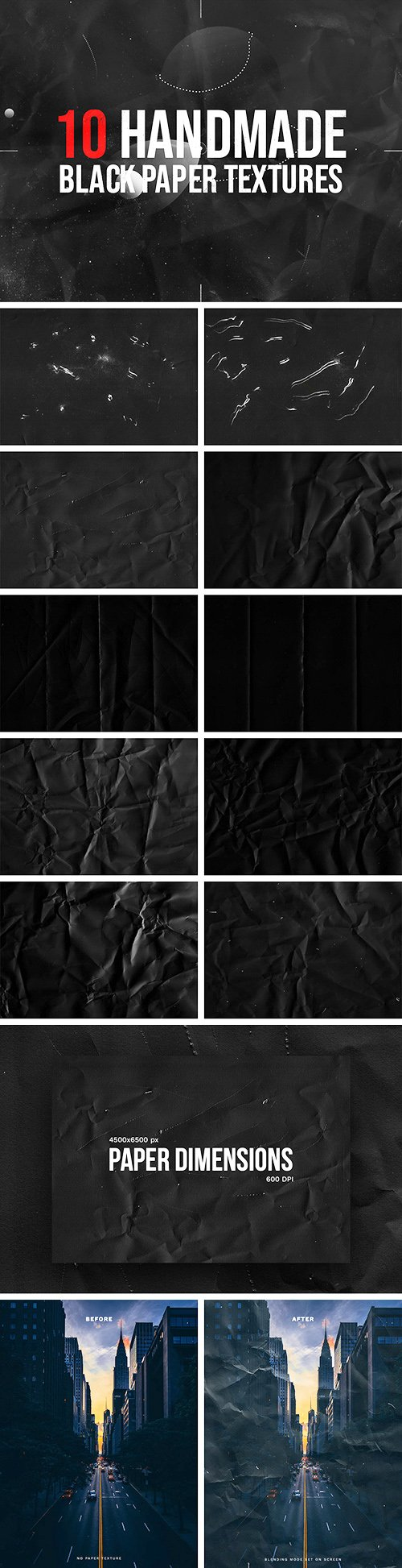 10 Handmade Black Paper Textures for Photoshop