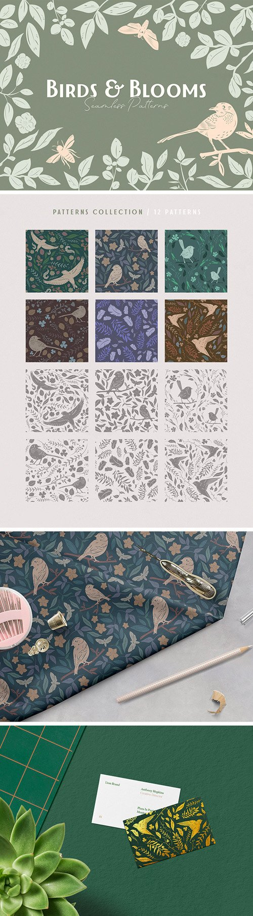 12 Birds & Blooms Seamless Patterns in Vector [Ai/EPS/PNG]