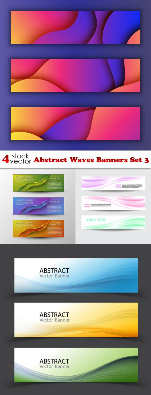 Vectors - Abstract Waves Banners Set 3