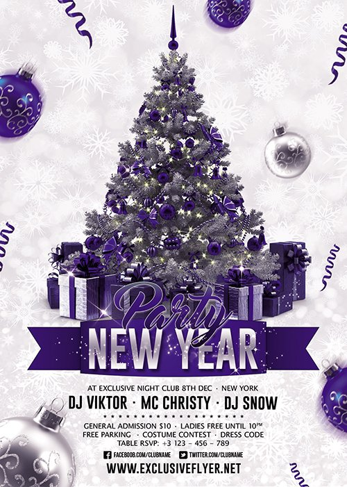 New Year Party 2018 - Seasonal A5 Flyer Template