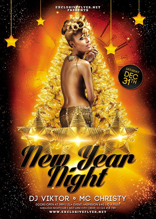 New Year Night 2018 - Seasonal A5 Flyer Template