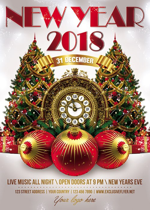 New Year 2018 - Seasonal A5 Flyer Template